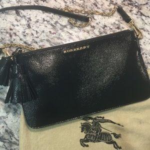 Burberry patent leather London tassel clutch